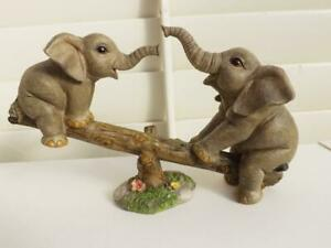 CUTE MOTHER & BABY ELEPHANTS ON SEE-SAW  FIGURINE ORNAMENT STATUE GIFT NEW