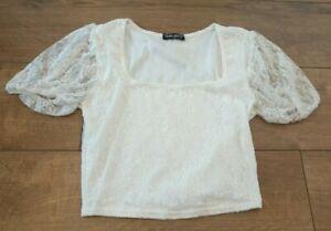 White Lace Crop Top Size Medium Cottagecore