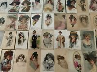 Big ~Lot of 40 Pretty Ladies Hats~Vintage Lady Women Antique Postcards-a894