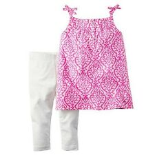 NWT 3M Baby Girl 2 PC Carter's Pink Ikat Tank Top & Solid White Leggings Set