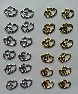 12 double heart embellishments for cards, invites etc gold or silver plastic