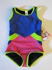 NWT Limeapple Girl's 5 1 Pc Swimsuit Navy Blue Pink Green Colorblock