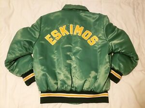 Vintage 1970s/80s Edmonton Eskimos Shain CFL Football Bomber Jacket L RARE