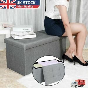 Folding Ottoman 2 Seater Large Storage Bench Seat Foot Stool Grey Linen Box UK