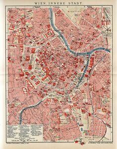 1909 AUSTRIA VIENNA INNER CITY PLAN Antique Map dated