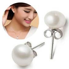Cultured Freshwater Silver Plated White Pearl Ear Stud Studs Earrings Women KJ