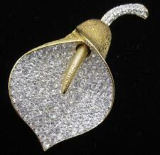 Huge Nolan Miller Crystal Calla Lilly Flower Pin Brooch Gamour Collection