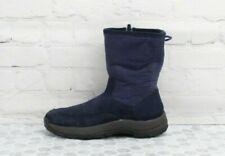 L.L. Bean Womens Fleece Suede Winter Boots Side Zip Mid Calf High Blue Size 6.5
