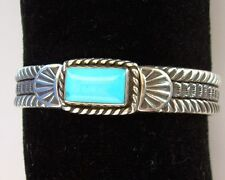 NATIVE AMERICAN NAVAJO SLEEPING BEAUTY TURQUOISE BRACELET BY JERRY COWBOY