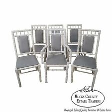 Hollywood Regency Vintage Set of 6 White Painted Faux Bamboo Dining Chairs