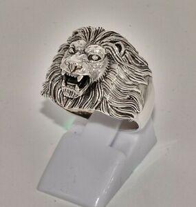 massiv Sterling Silber 925 Löwenkopfring für Kerle Biker lionheadring  ca. 9 g