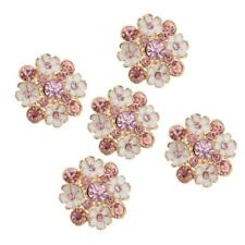 5pcs Flower Rhinestone Shank Buttons Clothes Sewing Accessories DIY 23mm
