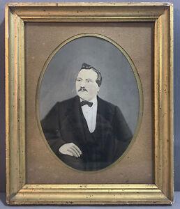 19thC Antique VICTORIAN WATERCOLOR Old GENTLEMAN Folk Art PORTRAIT PAINTING