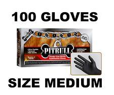 PITBULL Black Nitrile Gloves, 6 mil, Powder Free, Box of 100 Size M MEDIUM