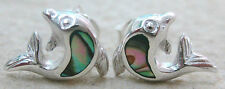 NEW - 925 STERLING SILVER Paua Shell Abalone DOLPHIN studs EARRINGS