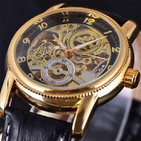 Luxury Automatic Mechanical Men Watch Skeleton Self Wind Leather Band Wristwatch