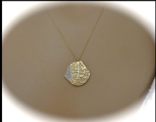 PIECES OF EIGHT PIRATE TREASURE COIN DIAMOND NECKLACE 14CT YELLOW GOLD..NB