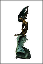 ANGELO BASSO Over The Wave Bronze Sculpture Signed Nude Female Signed Artwork