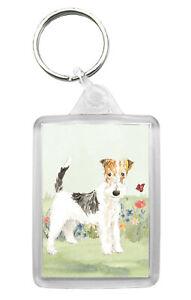 Wire Fox Terrier Dog Keyring Keyfob Lovely Image Fun Novelty Gift Present Idea