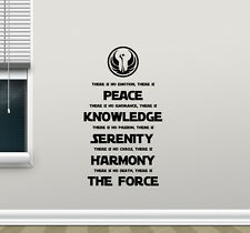 Star Wars Wall Decal Jedi Code Vinyl Sticker Movie Poster Quote Decor Art 350xxx