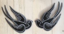 2 Schwalben Aufnäher patch SET Lucky Swallow Rockabilly schwarz silber Punk COOL