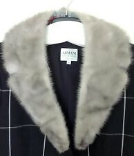 "VINTAGE SILVER GREY REAL MINK FUR COLLAR WITH REVERS FOR JACKET OR COAT 34"" LONG"