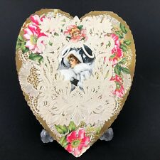 Valentines Card Angel Paper Lace Greeting Whitney Made Vtg Antique 1920s 30s