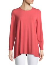Eileen Fisher Viscose Jersey Mimosa Coral Round Neck Tunic Top M NWT $138