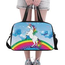 Lovely Weekender Travel Bag Unicorn on the Rainbow Womens Overnight Duffle Bag