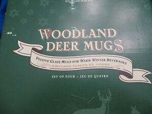 Williams Sonoma Woodland Deer Mugs for Warm Beverages Gift Boxed set of 4