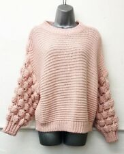 Ladies Girls Lagenlook Pink Pompom sleeve knitted Jumper top size 8 10 12 14