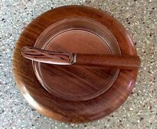 English Craftsmanship Hand Turned Wooden Butter Dish With Glass Tray And Knife