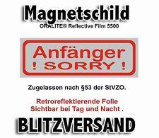 """Magnetschild für Fahranfänger """"SORRY"""" ORALITE® retroreflektierende Folie TOP !!-"""