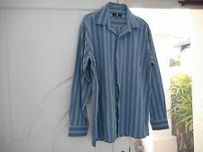 Blue striped Jonathan Adams long sleeve mens shirt dress casual quality Size L