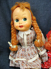 """Pair Celluloid-face vintage 16"""" dolls.  Original clothes.  Cloth, jointed body."""