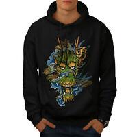 Wellcoda Japanese Katana Sun Mens Hoodie, Warrior Casual Hooded Sweatshirt