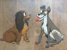 Grand Panneau Bois Peint Art Forain Walt Disney 1970 Populaire Belle Et Clochard
