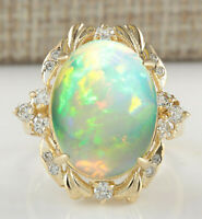 8.87 Carat Natural Opal 14K Yellow Gold Diamond Ring