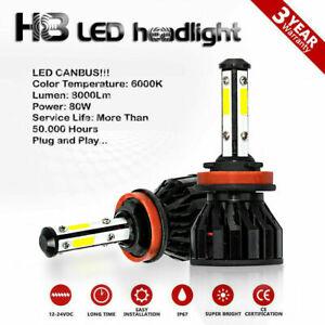 Kit H8 LED Fog Light Bulbs 80W 8000Lm White 6000K Canbus Skoda Superb MK2 08-15