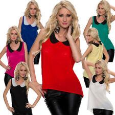 Maglie e camicie da donna senza maniche in poliestere con colletto classico