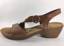 Hush Puppies Brown Leather Sandals Comfort Shoes Women's 9 Medium Slingback