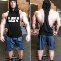 Men's Gym Muscle Workout Bodybuilding Print Sleeveless Fitness Hoodies Tank Top