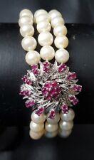 Perlen Armband  750 Weißgold Schließe  Rubine 3 Reihig