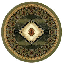6x6 Round Area Rug Southwest Southwestern Southern Medallion Green New