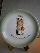 1972 Holly Hobbie Collector Plate Love Is The Nicest Gift of All Cat Basket Hat
