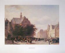 Amsterdam Street - Cornelis Springer - 65x55cms, vintage fine art poster print