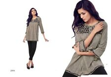 Women Fashion Indian Short GREY LINEN Kurti Tunic Kurta Top Shirt Dress