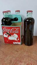 COCA COLA COKE SODA RETRO XMAS HUTCHINSON GLASS COKE BOTTLE 4 PACK 2011 REISSUE