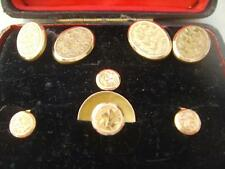 VICTORIAN 9ct ROSE GOLD CUFFLINKS & STUDS BOXED EDWARD DURBAN & Co 1898 CHESTER