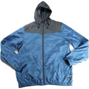 O'Neill Size Large Hooded Windbreaker Rain Jacket Blue Print Lightweight Skate